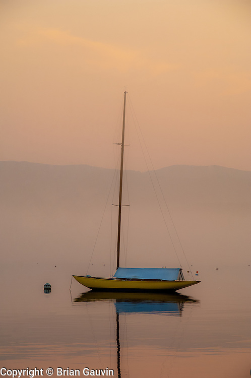 small sail boat at Southwest Harbor near Bar Harbor, Maine.