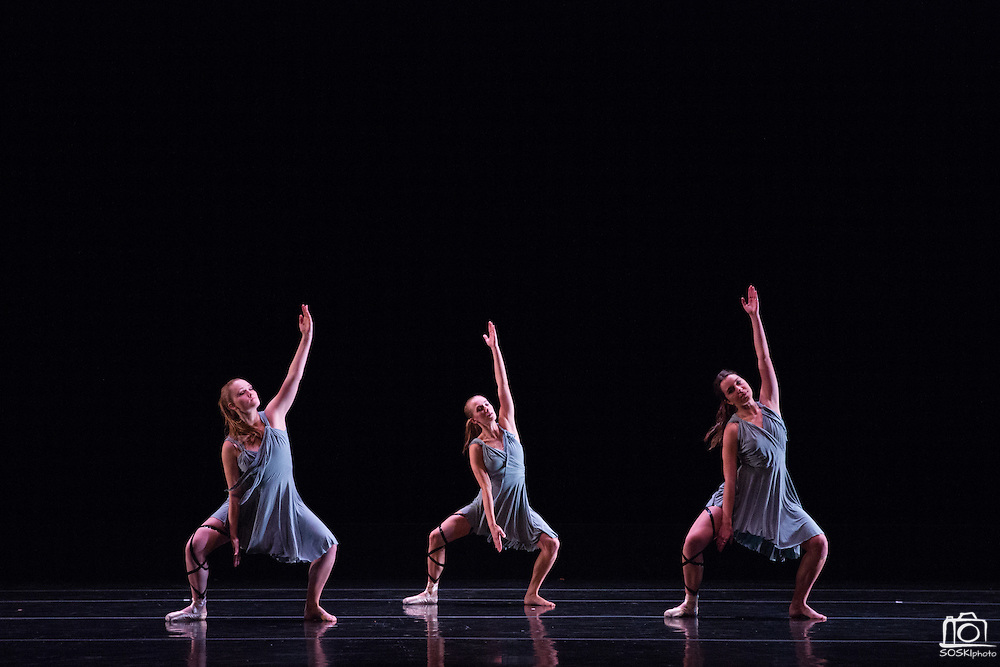 Santa Clara University Department of Theatre & Dance students perform during the dress rehearsal of the Choreographers' Gallery at Santa Clara University's Louis B. Mayer Theatre in Santa Clara, California, on December 3, 2013. (Stan Olszewski/SOSKIphoto)