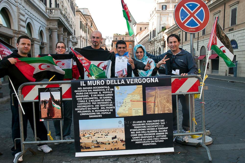 Roma 31  Marzo 2012.Manifestazione per l'Autodeterminazione del popolo Saharawi e contro l'occupazione militare del Marocco del Sahara Occidentale,