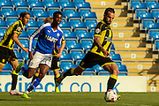 Burton Albion midfielder Robbie Weir strikes the ball during the Sky Bet League 1 match between Chesterfield and Burton Albion at the Proact stadium, Chesterfield, England on 26 September 2015. Photo by Aaron Lupton.