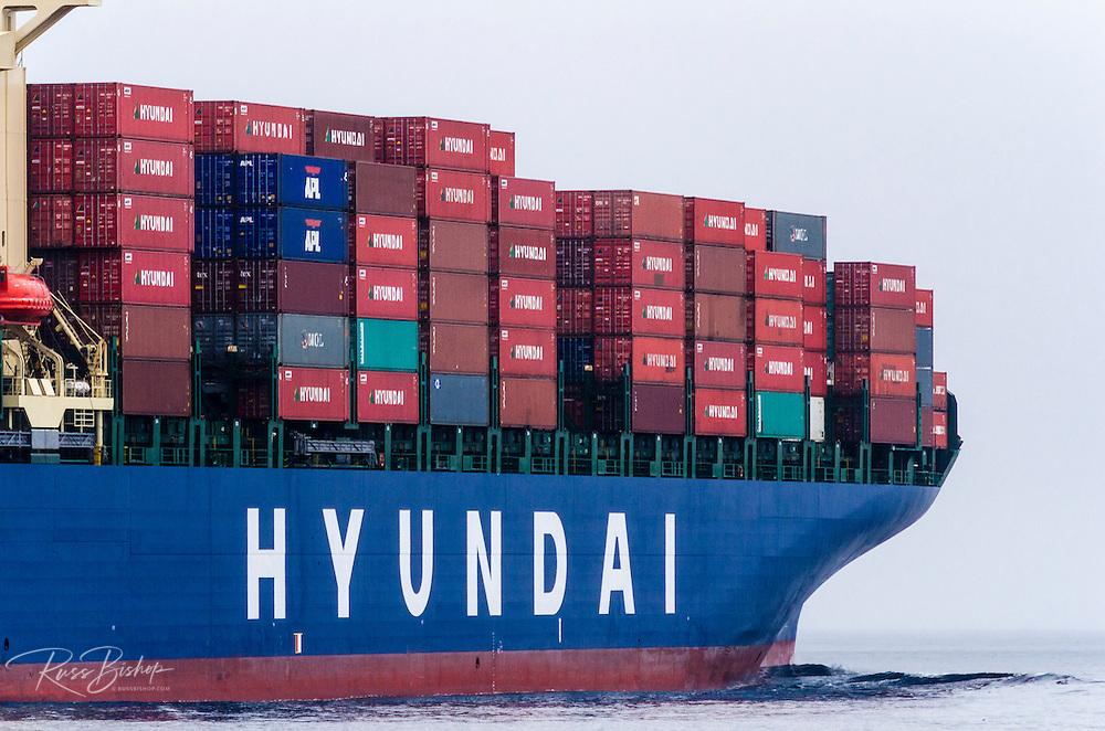 Cargo ship in the Santa Barbara Channel, Ventura, California USA