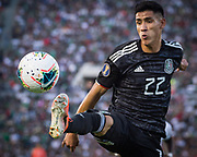 Mexico striker Uriel Antuna (22) reaches for the ball during a game between Mexico and Cuba in a CONCACAF Gold Cup soccer match in Pasadena, Calif., Saturday, June 15, 2019. Mexico defeated Cuba 7-0. (Ed Ruvalcaba/Image of Sport)