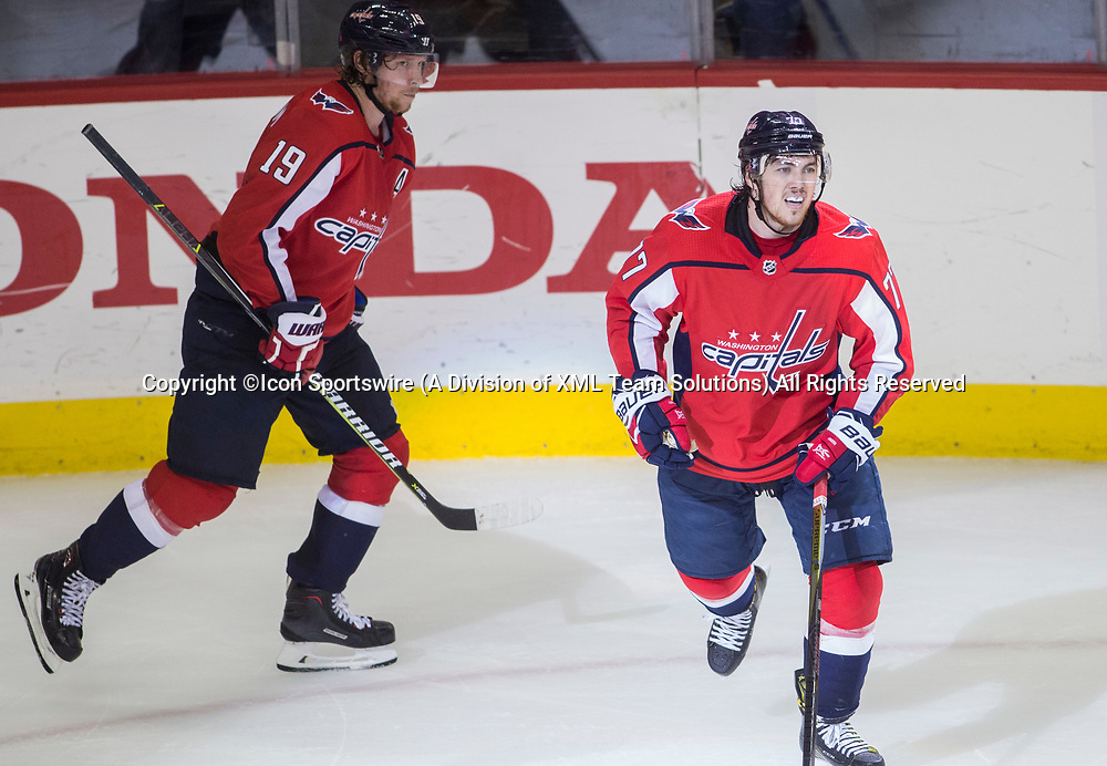 WASHINGTON, DC - MAY 21: Washington Capitals right wing T.J. Oshie (77) after scoring an open net goal for the Caps third strike, his second goal of the game during game 6 of the NHL Eastern Conference  Finals between the Washington Capitals and the Tampa Bay Lightning, on May 21, 2018, at Capital One Arena, in Washington D.C. The Das defeated the Lightning 3-0<br /> (Photo by Tony Quinn/Icon Sportswire)