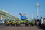 Police bikes lead the Brighton & Hove Albion Football Club Promotion Parade at Brighton Seafront, Brighton, East Sussex. United Kingdom on 14 May 2017. Photo by Ellie Hoad.