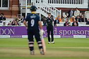 Surrey Captain Gareth Batty near the end of the match as Jonathan Trott finds another boundary during the Royal London One Day Cup match between Warwickshire County Cricket Club and Surrey County Cricket Club at Lord's Cricket Ground, St John's Wood, United Kingdom on 17 September 2016. Photo by David Vokes.