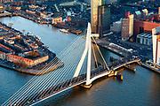 Nederland, Zuid-Holland, Rotterdam, 07-02-2018; Centrum Rotterdam in winters avondlicht, bij zonsondergang. Kop van Zuid (Wilhelminakade) met  Nieuwe Maas en Erasmusbrug, Noordereiland.<br /> City centre Rotterdam, Head of (the) South with highrise buildings.<br /> <br /> South Rotterdam, with former harbour quarter Katendrecht.<br /> luchtfoto (toeslag op standard tarieven);<br /> aerial photo (additional fee required);<br /> copyright foto/photo Siebe Swart