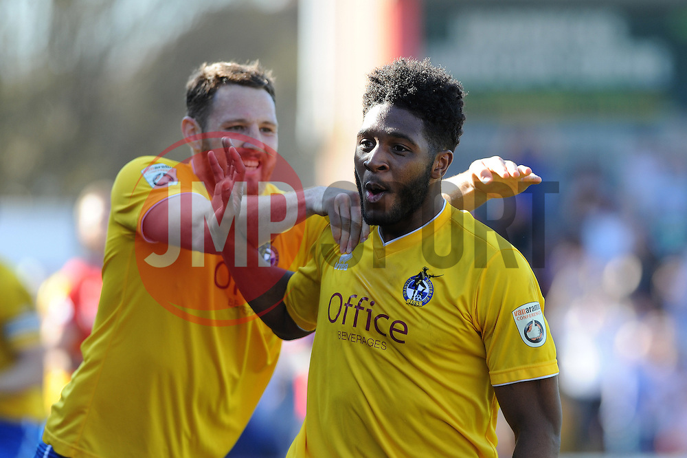 Bristol Rovers' Ellis Harrison celebrates with Bristol Rovers' Tom Parkes - Photo mandatory by-line: Neil Brookman/JMP - Mobile: 07966 386802 - 06/04/2015 - SPORT - Football - Kidderminster - Aggborough - Kidderminster v Bristol Rovers - Vanarama Football Conference