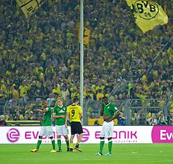 23.08.2013, Signal Iduna Park, Dortmund, GER, 1. FBL, Borussia Dortmund vs SV Werder Bremen, 3. Runde, im Bild von links, Theodor Gebre Selassie (Bremen #23), Felix Kroos (Bremen #18), Robert Lewandowski (BVB Borussia Dortmund #9) und Assani Lukimya (Bremen #5) nach dem Abpfiff auf dem Rasen // duringthe German Bundesliga 3rd round match between Borussia Dortmund and SV Werder Bremen at the Signal Iduna Park, Dortmund, Germany on 2013/08/23. EXPA Pictures © 2013, PhotoCredit: EXPA/ Andreas Gumz <br /> <br /> ***** ATTENTION - OUT OF GER *****
