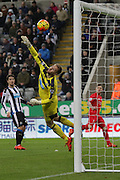 Newcastle United's Goalkeeper Robert Elliot watches as the ball goes in the net but the goal is dissallowed during the Barclays Premier League match between Newcastle United and Liverpool at St. James's Park, Newcastle, England on 6 December 2015. Photo by George Ledger.