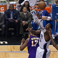 BASKET BALL - FINALS NBA NBA 2008/2009 - LOS ANGELES LAKERS V ORLANDO MAGIC - GAME 4 -  ORLANDO (USA) - 11/06/2009 - .DWIGHT HOWARD (ORLANDO MAGIC), ANDREW BYNUM (LOS ANGELES LAKERS)