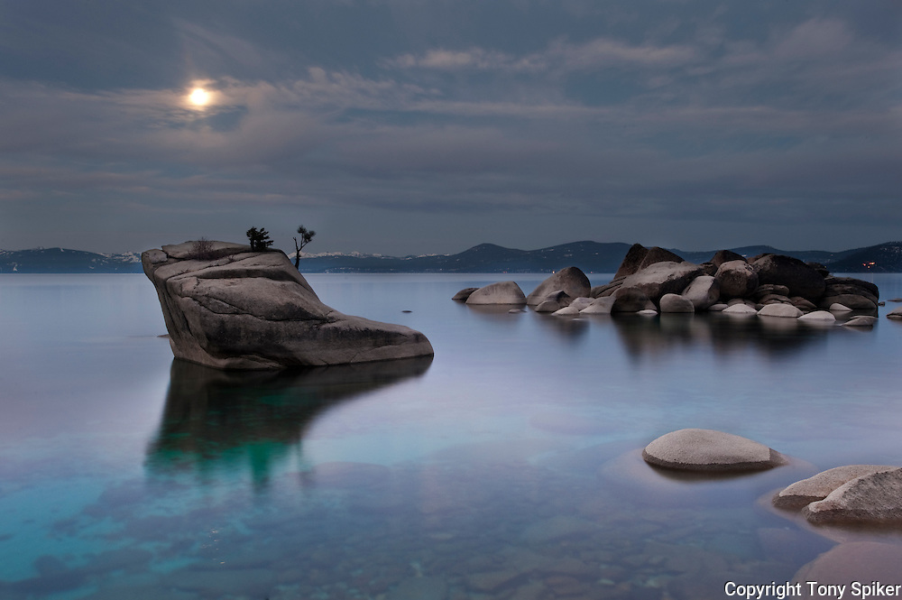 """Bonsai Rock Sunrise 6"" - The sun rises over Bonsai Rock on the Eastern shore of Lake Tahoe as the moon is setting"