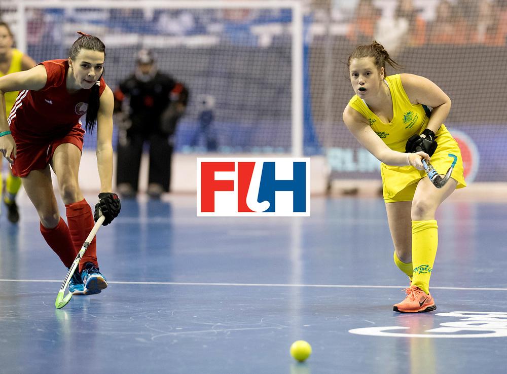 BERLIN - Indoor Hockey World Cup<br /> Quarterfinal 1: Belarus - Australia<br /> foto: FARRELL Lisa.<br /> WORLDSPORTPICS COPYRIGHT FRANK UIJLENBROEK