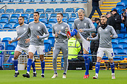 Cardiff City players warming up with Robert Glatzel of Cardiff City Aden Flint of Cardiff City Joe Bennett of Cardiff City during the EFL Sky Bet Championship match between Cardiff City and Swansea City at the Cardiff City Stadium, Cardiff, Wales on 12 January 2020.