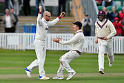 Wicket - Jack Leach of Somerset celebrates taking the wicket of Alex Davies of Lancashire during the Specsavers County Champ Div 1 match between Somerset County Cricket Club and Lancashire County Cricket Club at the Cooper Associates County Ground, Taunton, United Kingdom on 14 September 2017. Photo by Graham Hunt.