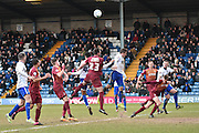 Bury Defender, Craig Jones in the box during the Sky Bet League 1 match between Bury and Bradford City at the JD Stadium, Bury, England on 5 March 2016. Photo by Mark Pollitt.