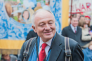 Ken Livingstone. Tony Benn's funeral at 11.00am at St Margaret's Church, Westminster. His body was brought in a hearse from the main gates of New Palace Yard at 10.45am, and was followed by members of his family on foot. The rout was lined by admirers. On arrival at the gates it was carried into the church by members of the family. Thursday 27th March 2014, London, UK. Guy Bell, 07771 786236, guy@gbphotos.com