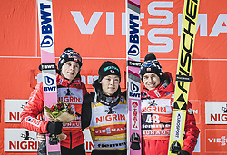 12.01.2019, Stadio del Salto, Predazzo, ITA, FIS Weltcup Skisprung, Val di Fiemme, Herren, Siegerehrung, im Bild 2. Platz Dawid Kubacki (POL), Sieger Ryoyu Kobayashi (JPN), 3. Platz Kamil Stoch (POL) // 2nd placed Dawid Kubacki of Poland Winner Ryoyu Kobayashi of Japan Kamil Stoch of Poland during the winner Ceremony for the Four Hills Tournament of FIS Ski Jumping World Cup at the Stadio del Salto in Predazzo, Itali on 2019/01/12. EXPA Pictures © 2019, PhotoCredit: EXPA/ JFK