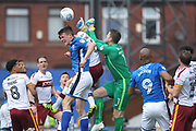 Colin Doyle punches clear under pressure during the EFL Sky Bet League 1 match between Rochdale and Bradford City at Spotland, Rochdale, England on 21 April 2018. Picture by Daniel Youngs.