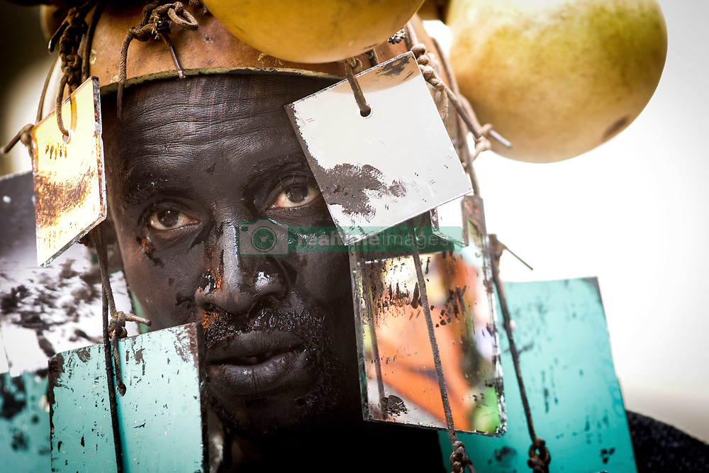 April 28, 2018 - Sao Paulo, Brazil - Artist JELILI ATIKU performs at the opening of the exhibition Ex Africa at the Centro Cultural Banco do Brasil (Credit Image: © Dario Oliveira via ZUMA Wire)