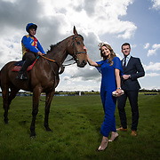02.05.2018.        <br /> Limerick Racecourse launches Twilight Racing Series. <br /> Pictured are left to right, Jockey, Derick Cooper with Undress, model, Emma Doran and Stephen Keeley, Fields The Jeweller. Picture: Alan Place