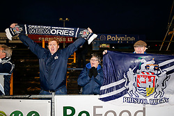 Travellin Bristol Rugby supporters celebrate after Bristol Rugby win 13-28 to take a 15 point lead into the second leg of the Final - Mandatory byline: Rogan Thomson/JMP - 18/05/2016 - RUGBY UNION - Castle Park - Doncaster, England - Doncaster Knights v Bristol Rugby - Greene King IPA Championship Play Off FINAL 1st Leg.