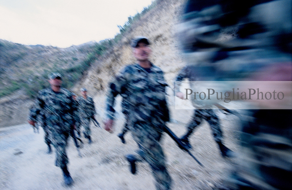 Manma, 09 March 2005...RNA soldiers during their early morning exercises. ..
