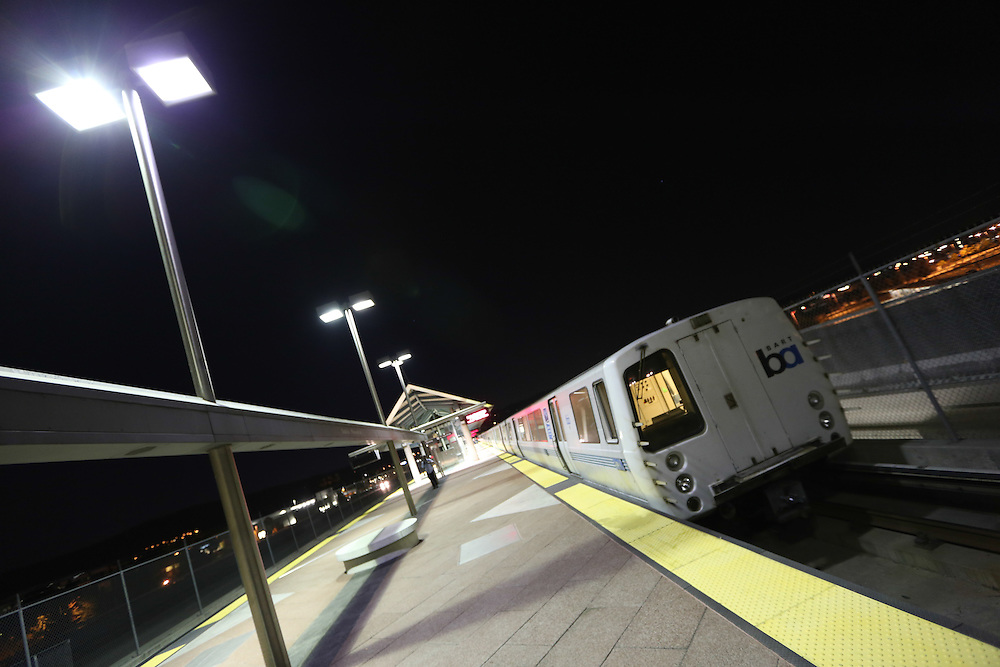 A Bay Area Rapid Transit (BART) train sits at the Dublin/Pleasanton Station in California waiting to make a final trip to Bayfair Station after transit unions authorized a strike.