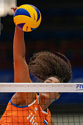 03-08-2019 ITA: FIVB Tokyo Volleyball Qualification 2019 / Netherlands, - Kenya Catania<br /> 3rd match pool F in hall Pala Catania between Netherlands - Kenya. Netherlands win 3-0 / Celeste Plak #4 of Netherlands
