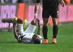 Swansea City's Roland Lamah is in a lot of pain after the tackle on him from Manchester City's Pablo Zabaleta - Photo mandatory by-line: Alex James/JMP - Tel: Mobile: 07966 386802 01/01/2014 - SPORT - FOOTBALL - Liberty Stadium - Swansea - Swansea City v Manchester City - Barclays Premier League