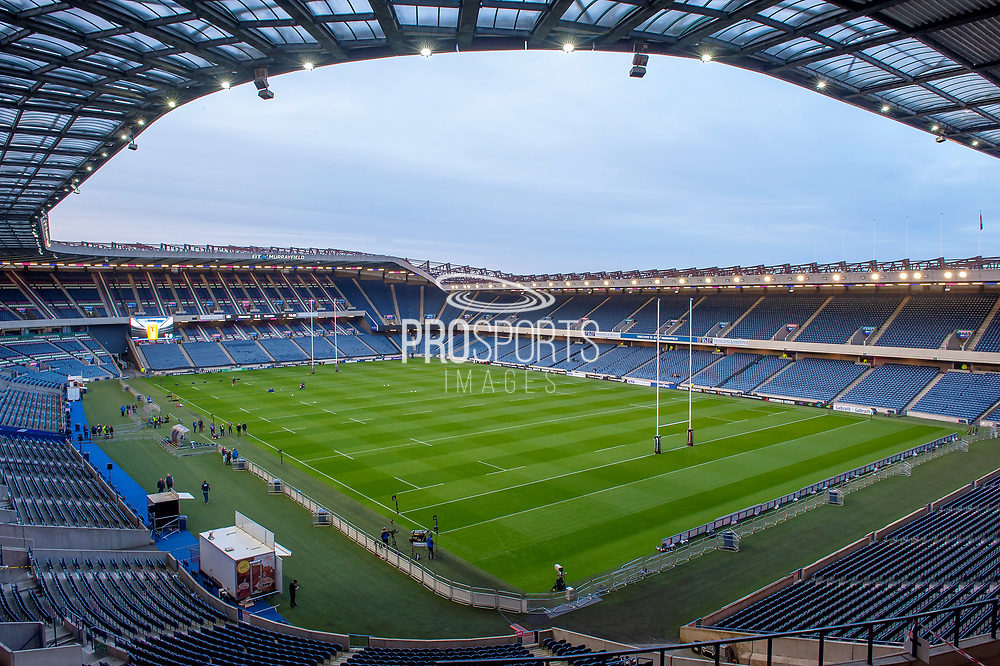 General view inside the BT Murrayfield Stadium, Edinburgh, Scotland before the Pro 14 2018_19 match between Edinburgh Rugby and Toyota Cheetahs on 5 October 2018.