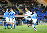 Dundee&rsquo;s Kane Hemmings celebrates his goal - St Johnstone v Dundee, Ladbrokes Scottish Premiership at McDiarmid Park<br /> <br />  - &copy; David Young - www.davidyoungphoto.co.uk - email: davidyoungphoto@gmail.com