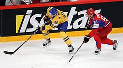 11.05.2012, Ericsson Globe, Stockholm, SWE, IIHF, Eishockey WM, Russland (RUS) vs Schweden (SWE), im Bild Sverige Sweden 40 Henrik Zetterberg is speeding past Russia 11 Yevgeni Malkin (Pittburgh Penguins) // during the IIHF Icehockey World Championship Game between Russia (RUS) and Sweden (SWE) at the Ericsson Globe, Stockholm, Sweden on 2012/05/11. EXPA Pictures © 2012, PhotoCredit: EXPA/ PicAgency Skycam/ Morten Christensen..***** ATTENTION - OUT OF SWE *****
