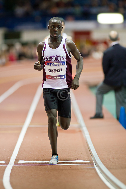 Millrose Games indoor track and field: mens two-mile, Ed Cheserek, St Benedict High School, sets national record