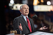 Senator Jeff Sessions of Alabama seconds the nomination of Donald Trump before the roll call during the second day of the Republican National Convention July 19, 2016 in Cleveland, Ohio. The delegates formally nominated Donald J. Trump for president after a state by state roll call.