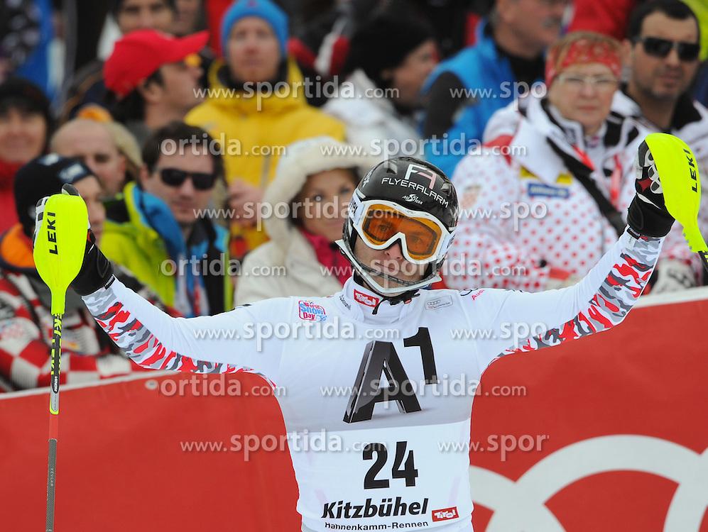 22.01.2012, Ganslernhang, Kitzbuehel, AUT, FIS Weltcup Ski Alpin, 72. Hahnenkammrennen, Herren, Slalom 2. Durchgang, im Bild Reinfried Herbst (AUT) // Reinfried Herbst of Austria reacts after Slalom race 2nd run of 72th Hahnenkammrace of FIS Ski Alpine World Cup at 'Ganslernhang' course in Kitzbuhel, Austria on 2012/01/22. EXPA Pictures © 2012, PhotoCredit: EXPA/ Erich Spiess