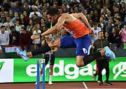 Yasmani Copello (TUR) places third in the 400m hurdles in 48.73 during the Weltklasse Zurich in an IAAF Diamond League meeting at Letzigrund Stadium in Zurich, Switzerland on Thursday, August 30, 2018.(Jiro Mochizuki/Image of Sport)
