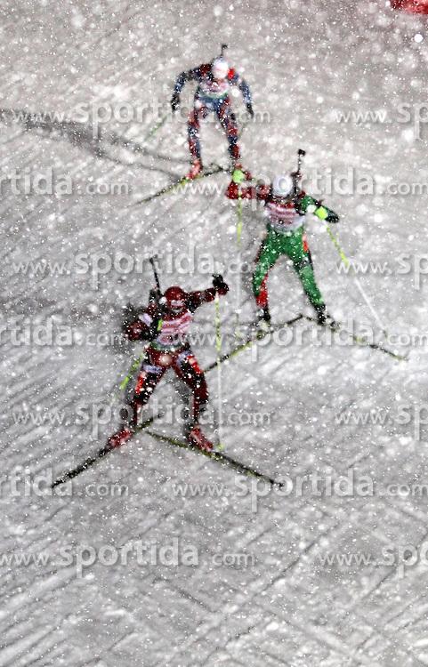 05.01.2012, DKB-Ski-ARENA, Oberhof, GER, E.ON IBU Weltcup Biathlon 2012, Staffel Herren, im Bild Biathleten im dichten Schneegestöber // during relay Mens of E.ON IBU World Cup Biathlon, Thüringen, Germany on 2012/01/05. EXPA Pictures © 2012, PhotoCredit: EXPA/ nph/ Hessland..***** ATTENTION - OUT OF GER, CRO *****
