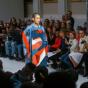 London, England, UK. 17th September 2017. Desinger Shing Luen Liou - FJU Talents Showcases lastest collection at FASHION SCOUT SS18 Day 3 at Freemasons Hall.