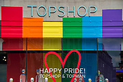 The Happy  Pride rainbow Top Shop - The annual London Gay Pride march heads from Oxford Circus to Trafalgar Square.
