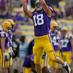 19 September 2009: LSU Tigers tight end Richard Dickson (18) during warm ups before a 31-3 win by the LSU Tigers over the University of Louisiana-Lafayette Ragin Cajuns at Tiger Stadium in Baton Rouge, Louisiana.
