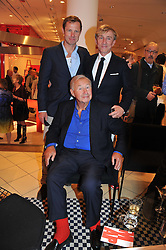 Left to right, TOM CONRAN, SIR TERENCE CONRAN and JASPER CONRAN at an exhibition at The Conran Shop entitled Red to celebrate 25 years of The Conran Shop at the Michelin Building, 81 Fulham Road, London on 19th September 2012.