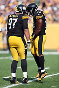 Pittsburgh Steelers defensive end Cameron Heyward (97) and Pittsburgh Steelers inside linebacker Vince Williams (98) celebrate after a fourth quarter quarterback sack for a loss of 10 yards at the Minnesota Vikings 12 yard line during the 2017 NFL week 2 regular season football game against the against the Minnesota Vikings, Sunday, Sept. 17, 2017 in Pittsburgh. The Steelers won the game 26-9. (©Paul Anthony Spinelli)