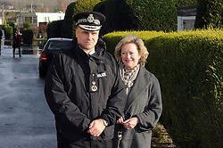© Licensed to London News Pictures. 06/01/2014<br /> Chief Constable Alan Pughsley and Kent Police Commissioner Ann Barnes <br /> Yalding village Flood water starts receding again as a clear up operation starts.<br /> The village in Kent also gets a visit from the new Kent Police Chief Constable Alan Pughsley and Kent Police Commissioner Ann Barnes who walked around Little Venice Country Park meeting residents.  Alan Pughsley has been in the post since January 4th 2014.<br /> Photo credit :Grant Falvey/LNP