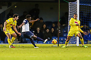 Shaq Coulthirst of Southend United (2nd left) has a shot on target during the Sky Bet League 2 match at Roots Hall, Southend<br /> Picture by David Horn/Focus Images Ltd +44 7545 970036<br /> 10/01/2015