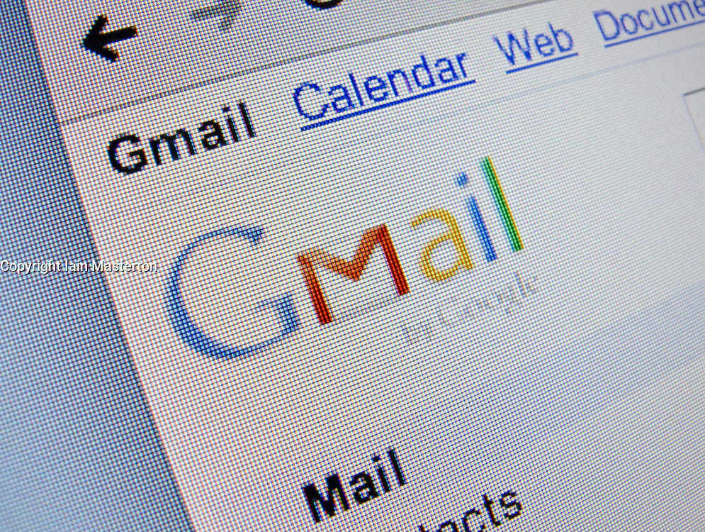 Detail of online Google mail or Gmail  website homepage screen shot