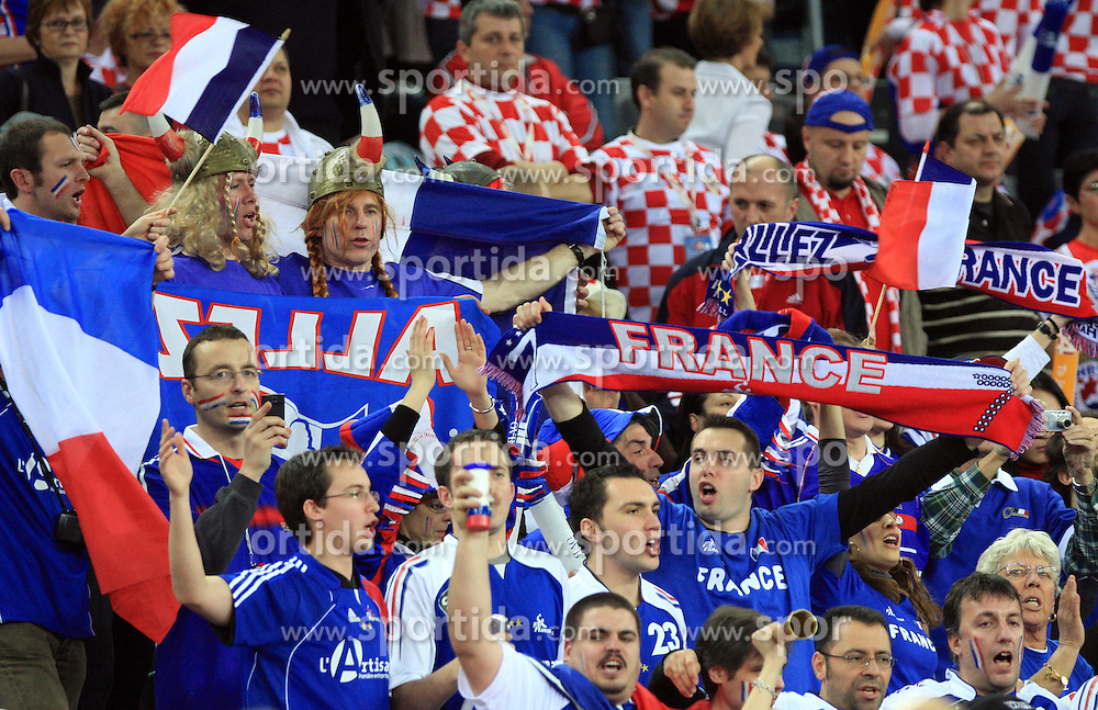 Fans of France during 21st Men's World Handball Championship 2009 Main round Group I match between National teams of France and Sweden, on January 24, 2009, in Arena Zagreb, Zagreb, Croatia.  (Photo by Vid Ponikvar / Sportida)