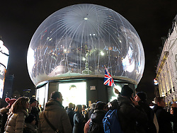 UK ENGLAND LONDON 14DEC14 - Eros statue encased in a bubble at Piccadilly, central London.<br /> <br /> jre/Photo by Jiri Rezac<br /> <br /> © Jiri Rezac 2013