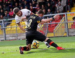 December 3, 2017 - Italy - Benevento, Italy. December 3, 2017: The Benevento player Gaetano letizia removes the ball from Milan's Fernandez Suso. The Benevento after 14 losses manages to equalize and make the first point in Serie A (Credit Image: © Zumapress via ZUMA Wire)