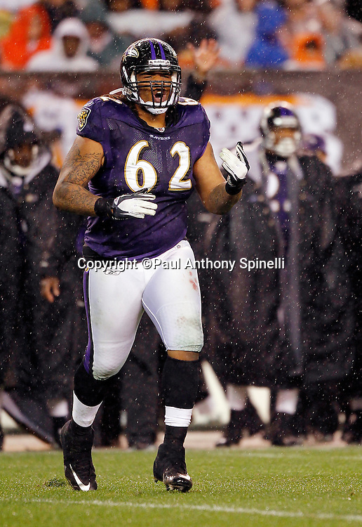Baltimore Ravens nose tackle Terrence Cody (62) jogs onto the field during the NFL week 13 football game against the Cleveland Browns on Sunday, December 4, 2011 in Cleveland, Ohio. The Ravens won the game 24-10. ©Paul Anthony Spinelli