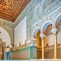 Interior of Sala de los Pasos Perdidos, Alcoba Real, Real Alcazar, Seville, Spain.